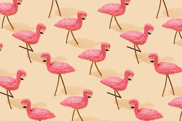 ピンクのフラミンゴのパステルイエローの最小限の構成パターンの表面
