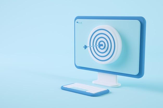 ブルズアイ3dレンダリングの概念を備えた最小限のコンピューター