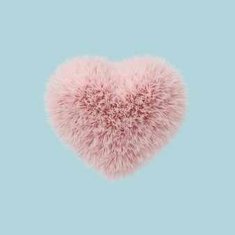 Minimal concept, fur heart shape pink color floating on pastel blue background.