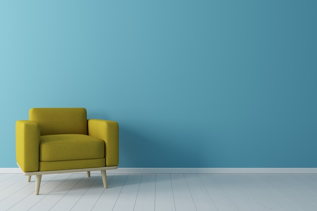 Minimal concept. interior of living yellow fabric armchair, on wooden floor and blue wall.