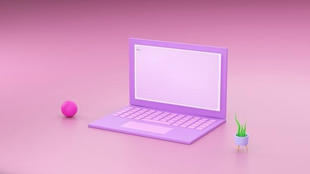 最小限のコンセプト、テーブル上のラップトップワークデスクピンクとバイオレットの色とノートブックとカップであなたのテキストのモックアップ。 3dレンダリング。 -イラスト
