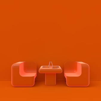 Minimal concept. laptop on table in cafe orange color, 3d render.