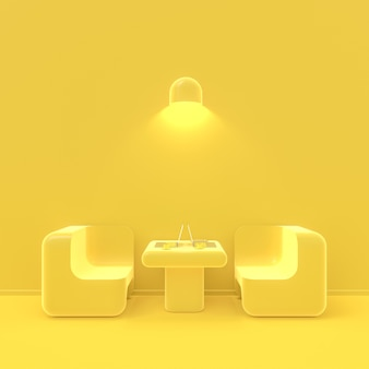 Minimal concept. laptop on table in cafe yellow color, 3d render.
