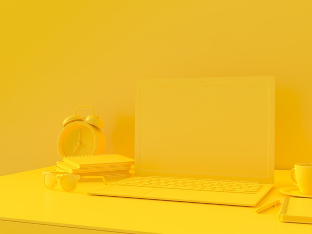 Minimal concept, laptop on table work desk yellow color and mock-up for your text