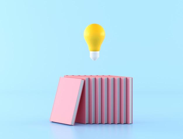 Минимальная концепция знаний с использованием желтой лампочки, плавающей над розовыми книгами