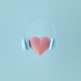 Minimal concept. outstanding pink color heart shape with blue headphone on blue background. 3d render