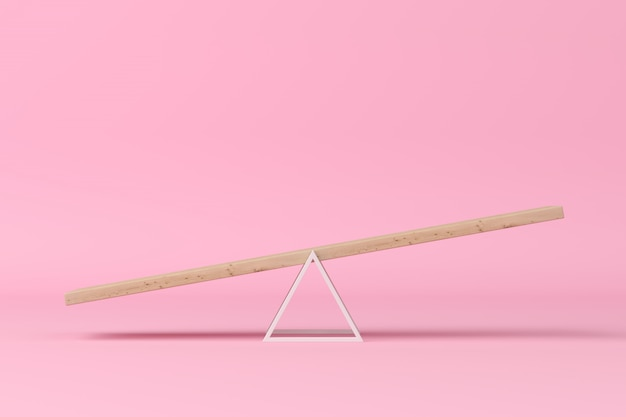 Minimal concept. outstanding slope seesaw on pink background. 3d rendering