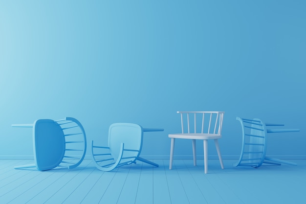 Minimal concept. outstanding white chair with falling blue chair on blue floor and background.