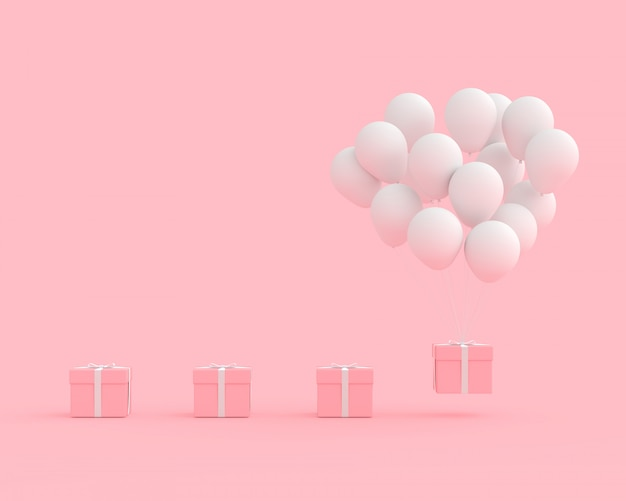 Minimal concept pink gift box with balloon white color