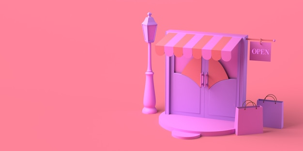 Minimal concept store door with open sign and shopping bags copy space 3d illustration