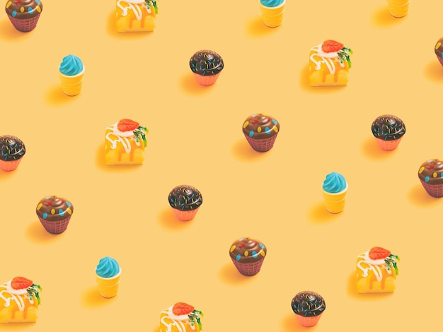 Minimal  concept.trendy candy pattern made with various  candy bright light yellow background