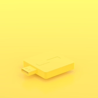 Minimal concept, usb flash drive yellow pastel color and copy space for your text, 3d rend