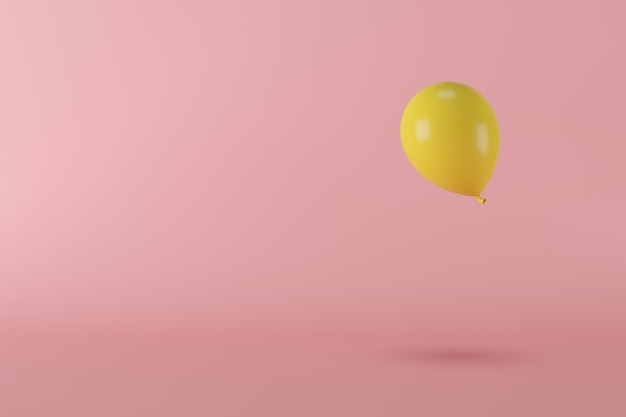 Minimal concept yellow balloon floating on pink background, copy space