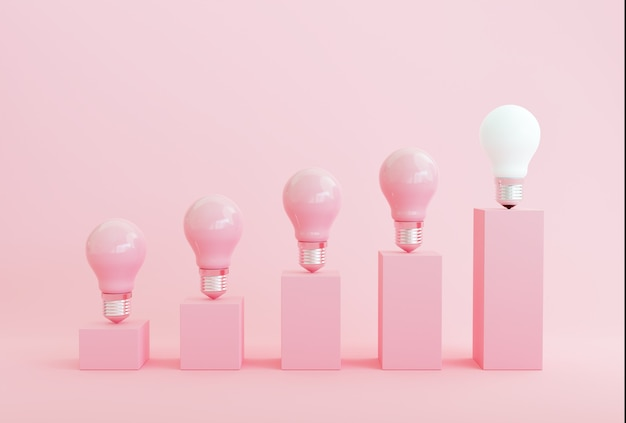Minimal conceptual idea concept outstanding white light bulb bar chart on pink background