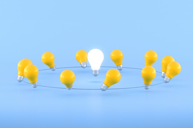 Minimal conceptual idea of light bulb surround with yellow bulbs on blue background. 3d rendering.