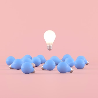 Минимальная концептуальная идея лампочку, плавающие вокруг синие лампочки на розовом фоне. 3d-рендеринг.