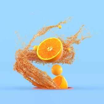 Минимальная концептуальная идея нарезанных апельсинов и маленькой желтой сферы, плавающей вне отверстия, окружена всплеском апельсинового сока на синей стене. 3d-рендеринг.