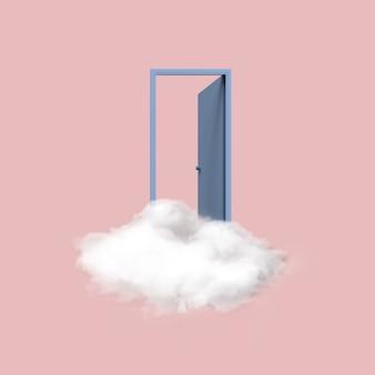 Минимальное концептуальное изображение голубой открытой двери, плавающей на белом облаке