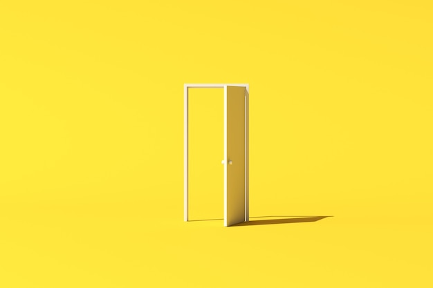 Минимальная концептуальная сцена белой двери на желтом фоне. 3d-рендеринг.