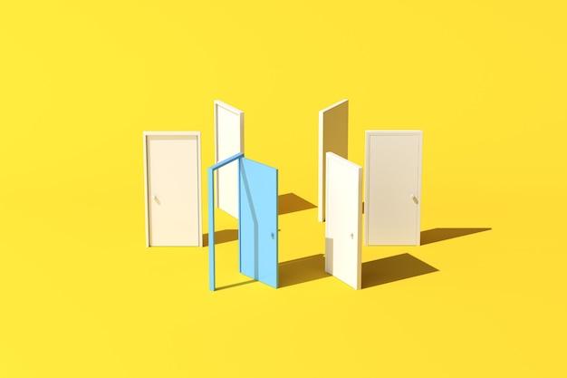Минимальная концептуальная сцена синей двери в форме круга на желтом фоне. 3d-рендеринг.