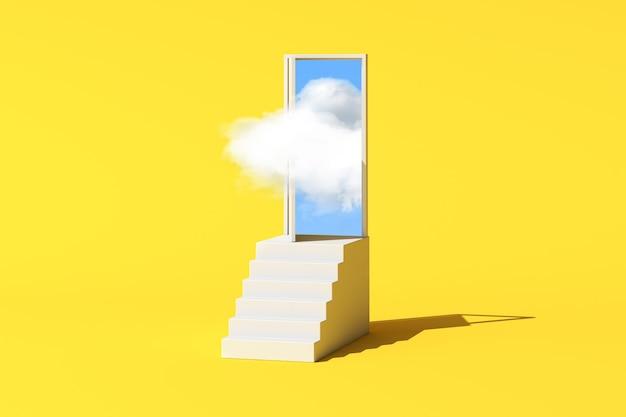 Минимальная концептуальная сцена плавающего белого облака в двери на белой лестнице. 3d-рендеринг.