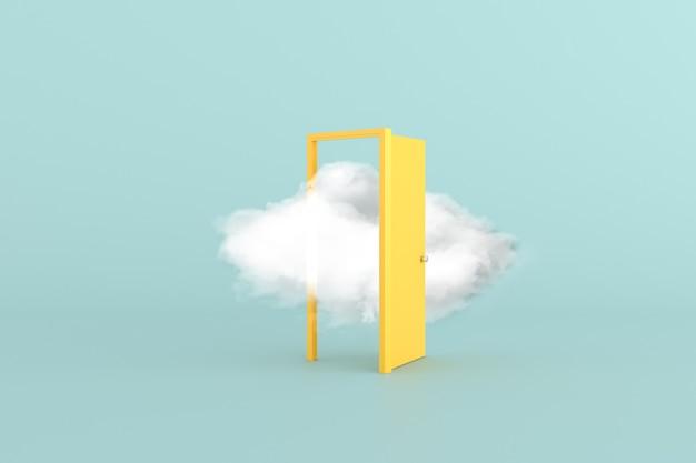 黄色いドアに浮かぶ白い雲の最小限の概念的なシーン。 3d レンダリング
