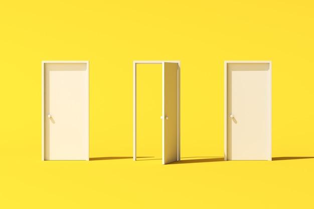 Минимальная концептуальная сцена из трех белых дверей на желтом фоне. 3d-рендеринг.