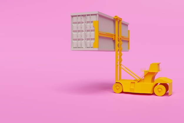 분홍색 배경에 최소한의 컨테이너 리프트 기계, 3d 그림 렌더링