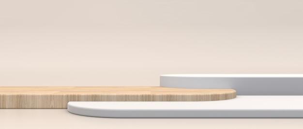 제품 프리젠 테이션을위한 최소한의 화장품 배경. 크림 바닥 배경에 흰색과 나무 질감 끄기, 3d 렌더링