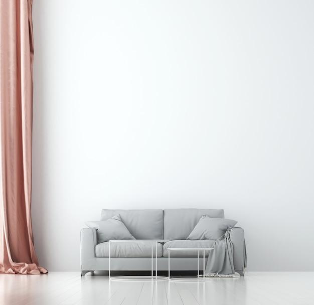 Минималистичный уютный дизайн интерьера и мебель гостиной и фактура стен