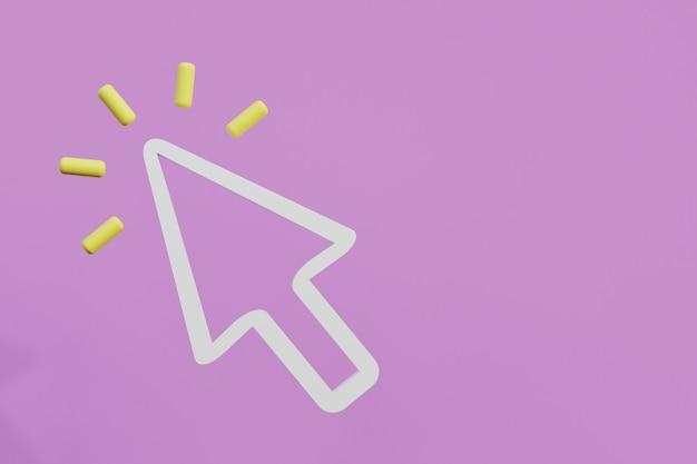 ピンクの背景に最小限のカーソルまたはマウスの矢印記号は、3dレンダリングの図をクリックします
