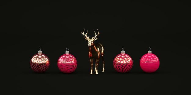 빨간 크리스마스 장난감 및 황금 사슴 일러스트와 함께 최소한의 어두운 크리스마스 구성