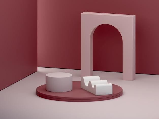 表彰台とガーネットの抽象的な背景のアーチと最小限の暗いシーン。