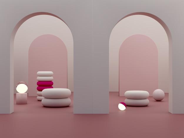 表彰台とガーネットの抽象的な背景のライトと最小限の暗いシーン。