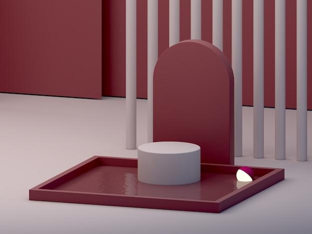 表彰台とガーネットの抽象的な背景の水で最小限の暗いシーン。
