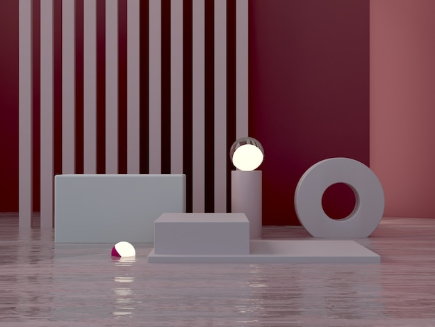 Minimal dark scene with podium and water in garnet abstract background.