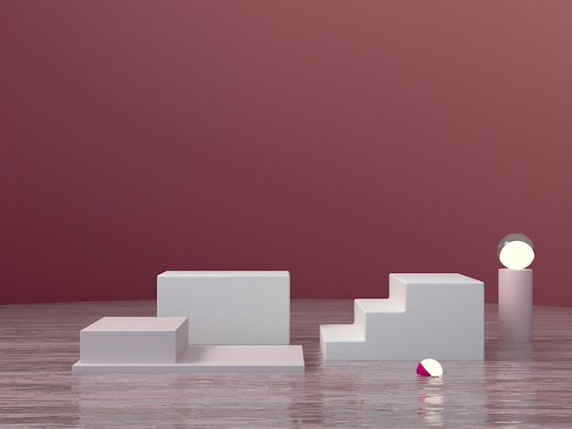 Minimal dark scene with podium, water and lights in garnet abstract background.