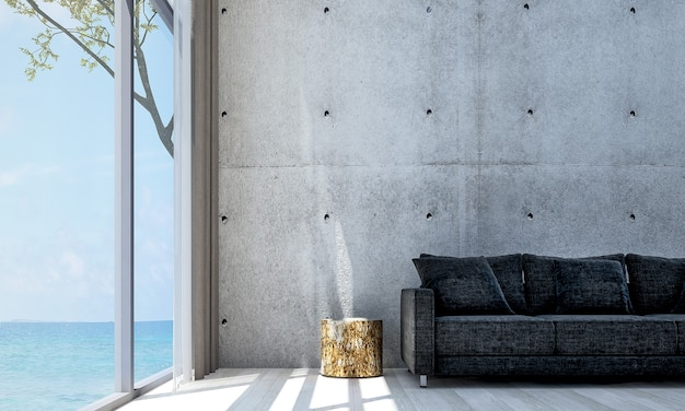 Minimal decor and mock up room interior and living room and concrete wall background and sea view