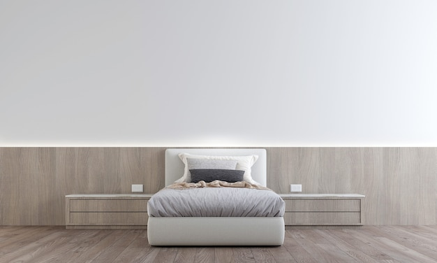 Minimal  design of bedroom interior have side table  with white pattern wall, 3d render