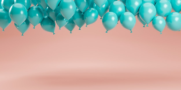 Minimal design by 3d rendering of pastel blue balloons floating on pink pastel background in studio for decoration advertisement and showing product.