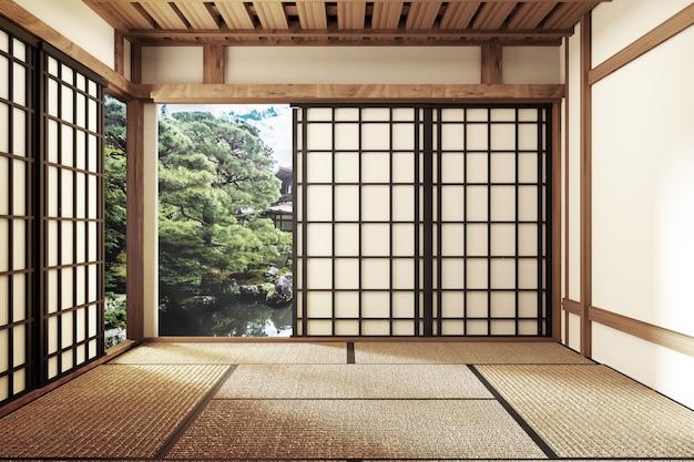 Minimal design with tatami mat floor and japanese, empty room interior