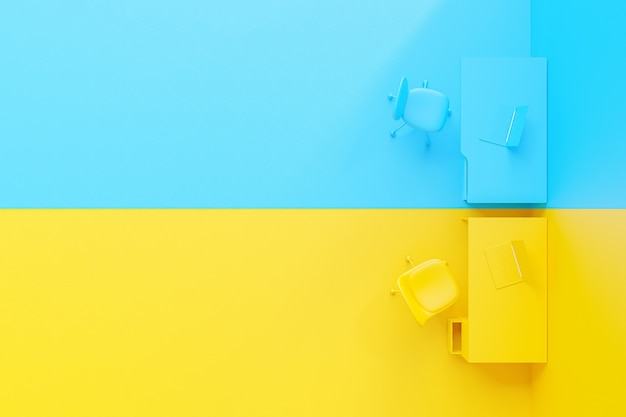 Minimal and difference idea concept, laptop on work desk table yellow and blue color. 3d render.