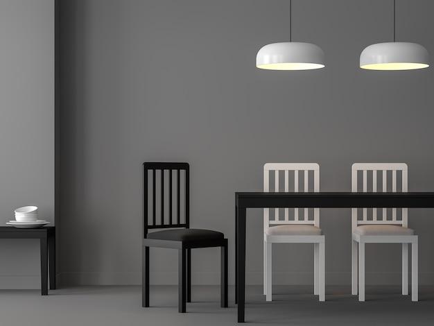 최소한의 식당 3d 렌더링흑백 심플한 디자인 가구가 있는 회색 방이 있습니다