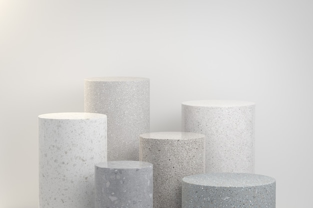 Minimal display stone set collection geometry abstract background 3d render