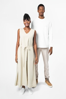 Minimal dress and tee with design space men and women's minimal apparel