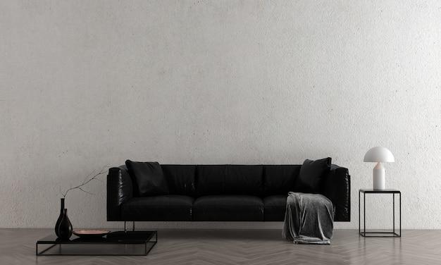 最小限の空のコンクリート壁のリビングルームにはソファと装飾があり、インテリアのモックアップ、3dレンダリング