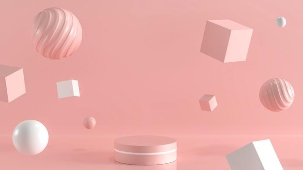 ピンクのパステルカラーの背景を持つ製品の幾何学的形状を持つ最小限の空の表彰台シーン