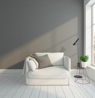 안락 의자와 회색 벽 플로어 램프 3d 렌더링이있는 최소 빈 방