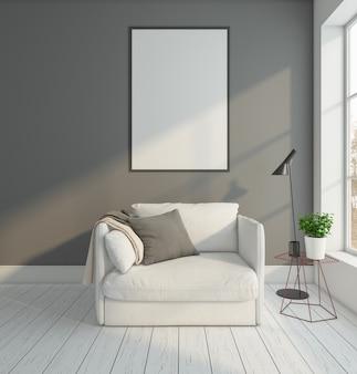 안락 의자와 그림 프레임 플로어 램프 3d 렌더링이있는 최소 빈 방