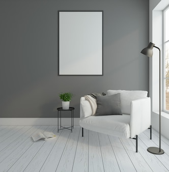 Minimal empty room with armchair and gray wall floor lamp picture frame 3d rendering